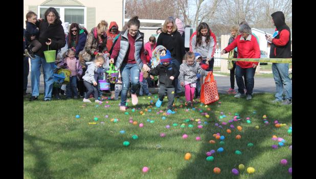 The group that was most excited during Hickory Creek at Winamac's annual egg hunt, but needed a lot of help collecting eggs, was the less than 3 year olds.