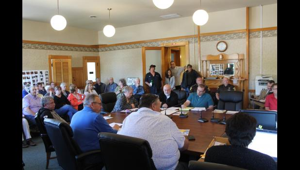 A large group attended the joint session Monday evening to hear what plans county officials have made in regards to the deteriorating courthouse.