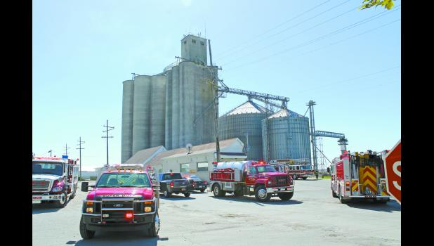 Smoke could be seen seeping from the top of the Tate and Lyle elevators in Francesville on Monday after an explosion.