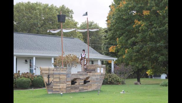 A pirate ship has landed at a home on CR 50 N. near the Knights of Columbus.