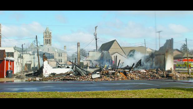 After the fire the walls were knocked down and the metal scrap was removed.
