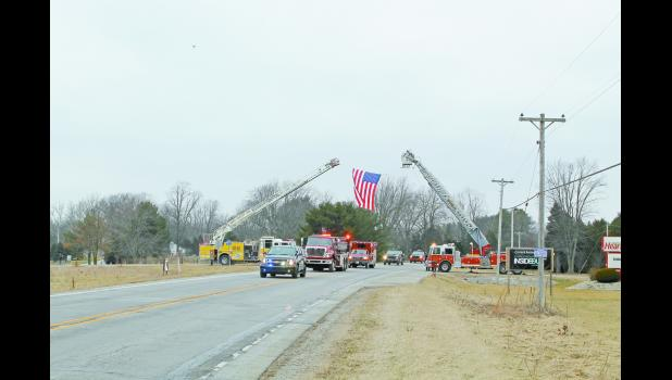 A community of firefighters gathered and showed their respects to Michael Shorter who passed away on Jan. 22 from injuries sustained in a motorcycle accident. Shorter was a firefighter for the Star City Volunteer Fire Department. Numerous friends, family members and firefighters gave their condolences during a visitation on Friday.  Shorter was escorted to the cemetery on the top of the fire truck.