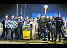 (Photo courtesy Justin Whapham/GMS Racing) Winamac native Justin Haley and his Fraternal Order of Eagles crew celebrate their first victory at Gateway Motorsports Complex near St. Louis over the weekend.