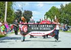 The West Central Marching Band was one of many floats in the Francesville Fall Festival parade.